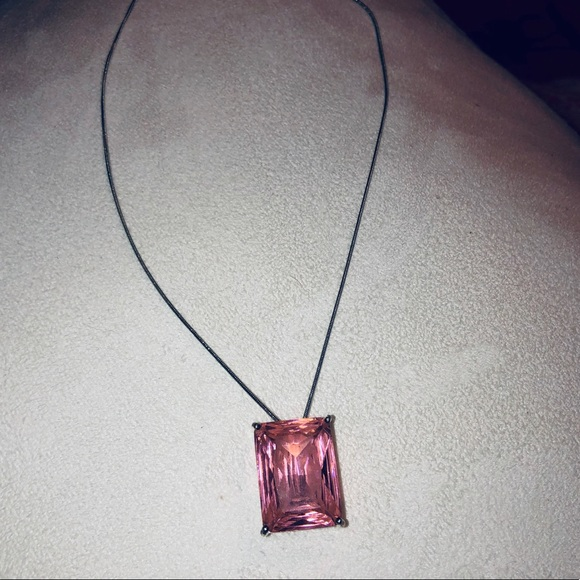 none Jewelry - .925 Pink Cubic zirconia Square Necklace